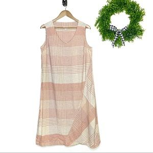 J Jill Pure Jill Plaid Stripe Linen Maxi Dress 1X